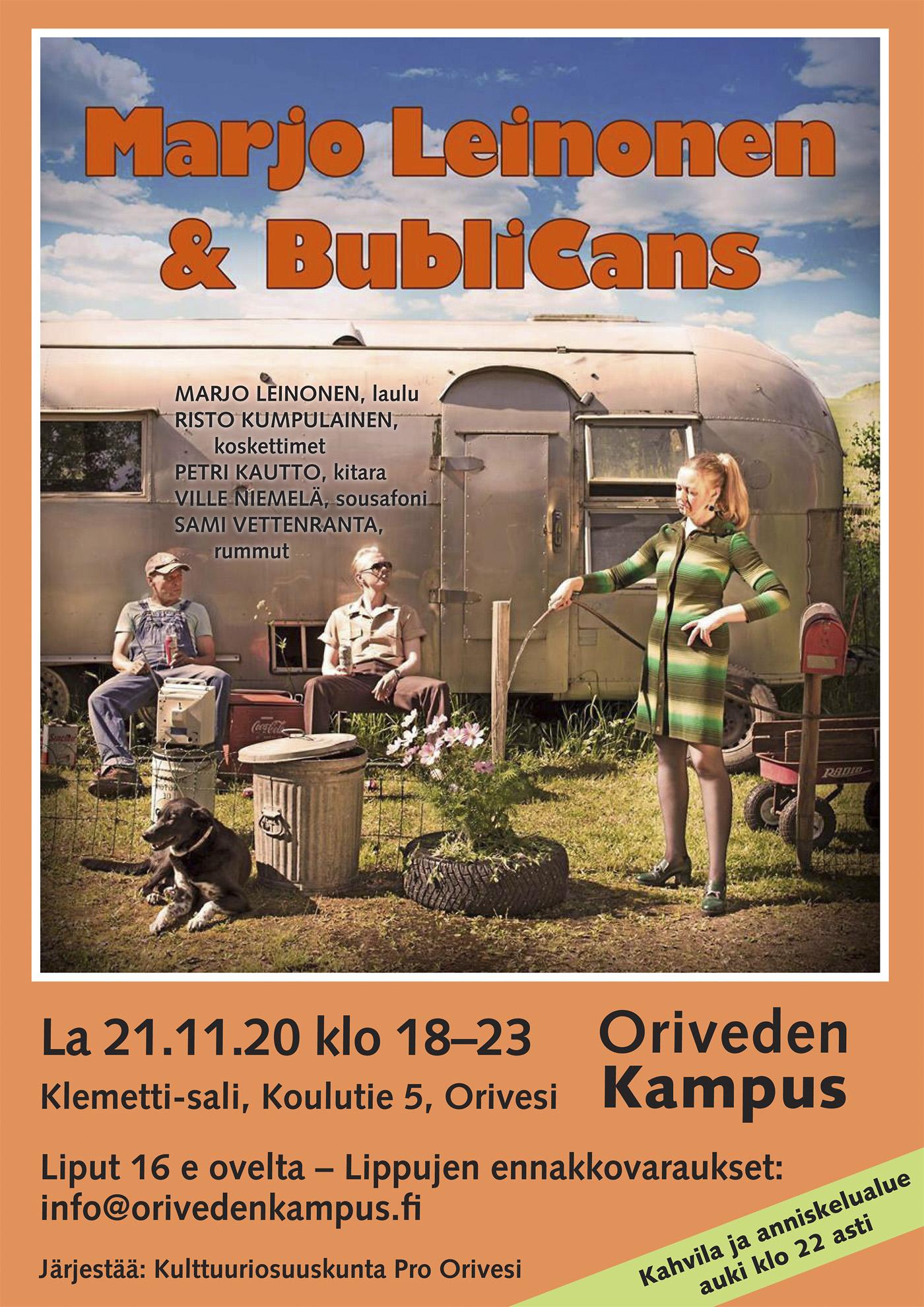 Marjo Leinonen & BubliCans konsertti Oriveden Kampuksella