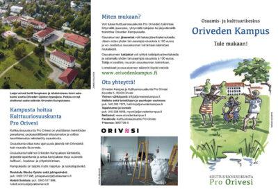 Oriveden Kampus - osaamis- ja kulttuurikeskus esite Kulttuuriosuuskunta Pro Orivesi