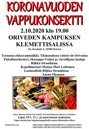 Koronavuoden Vappukonsertti 2.10.2020 – Oriveden Kampus